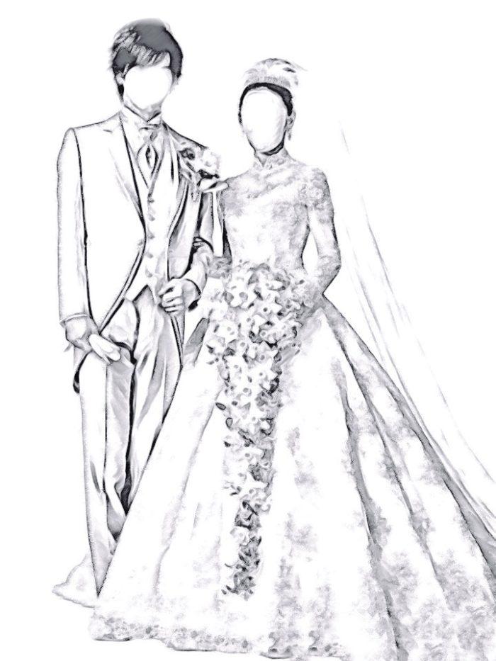 ウェディングドレスの記念写真イメージ図