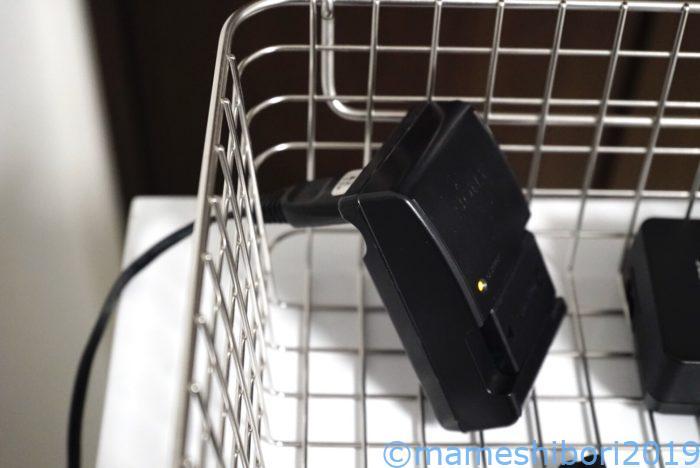 ワイヤーバスケットだと充電ができて便利